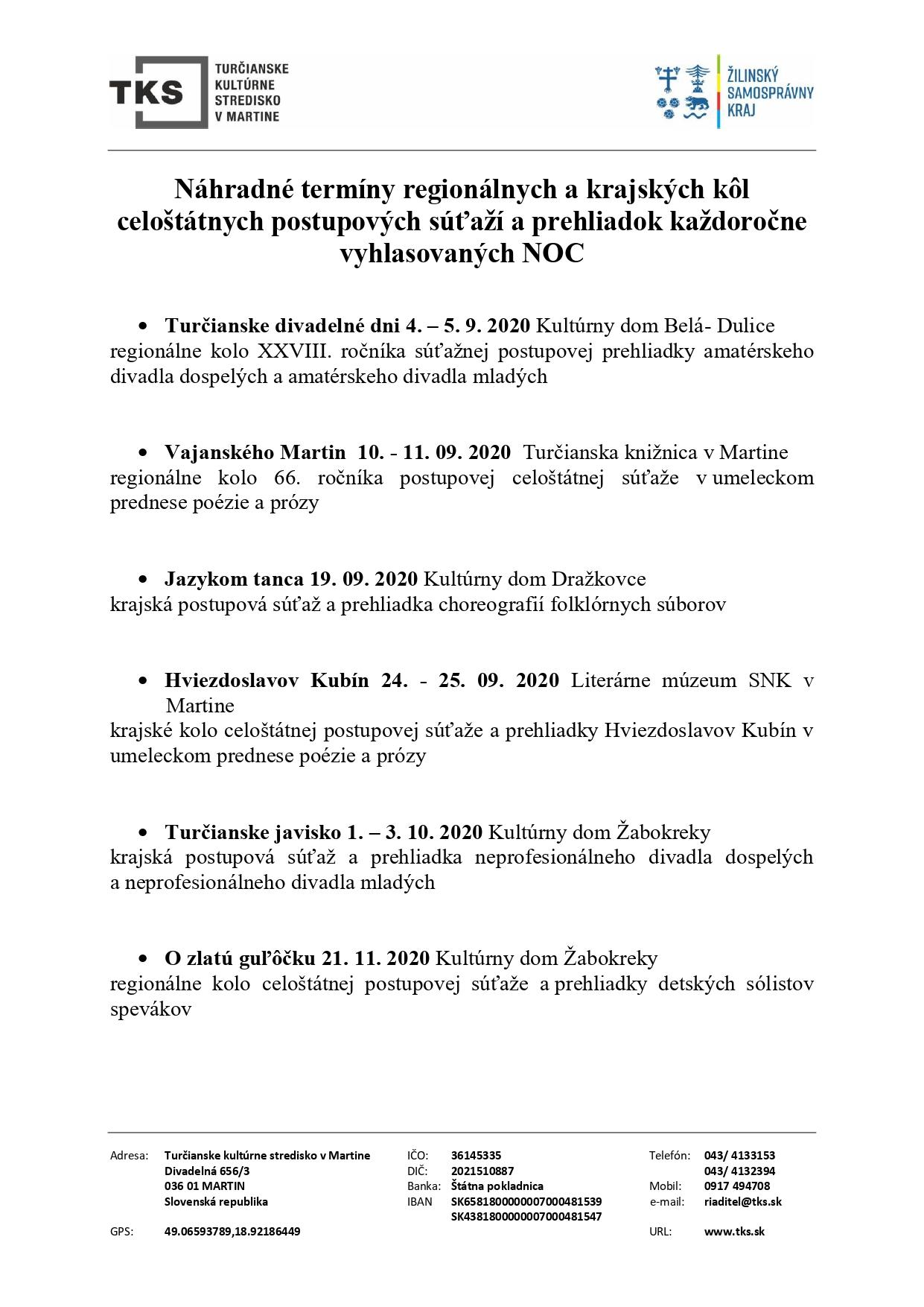 Náhradné terminy regionálnych a krajských postupových súťaží a prehliadok
