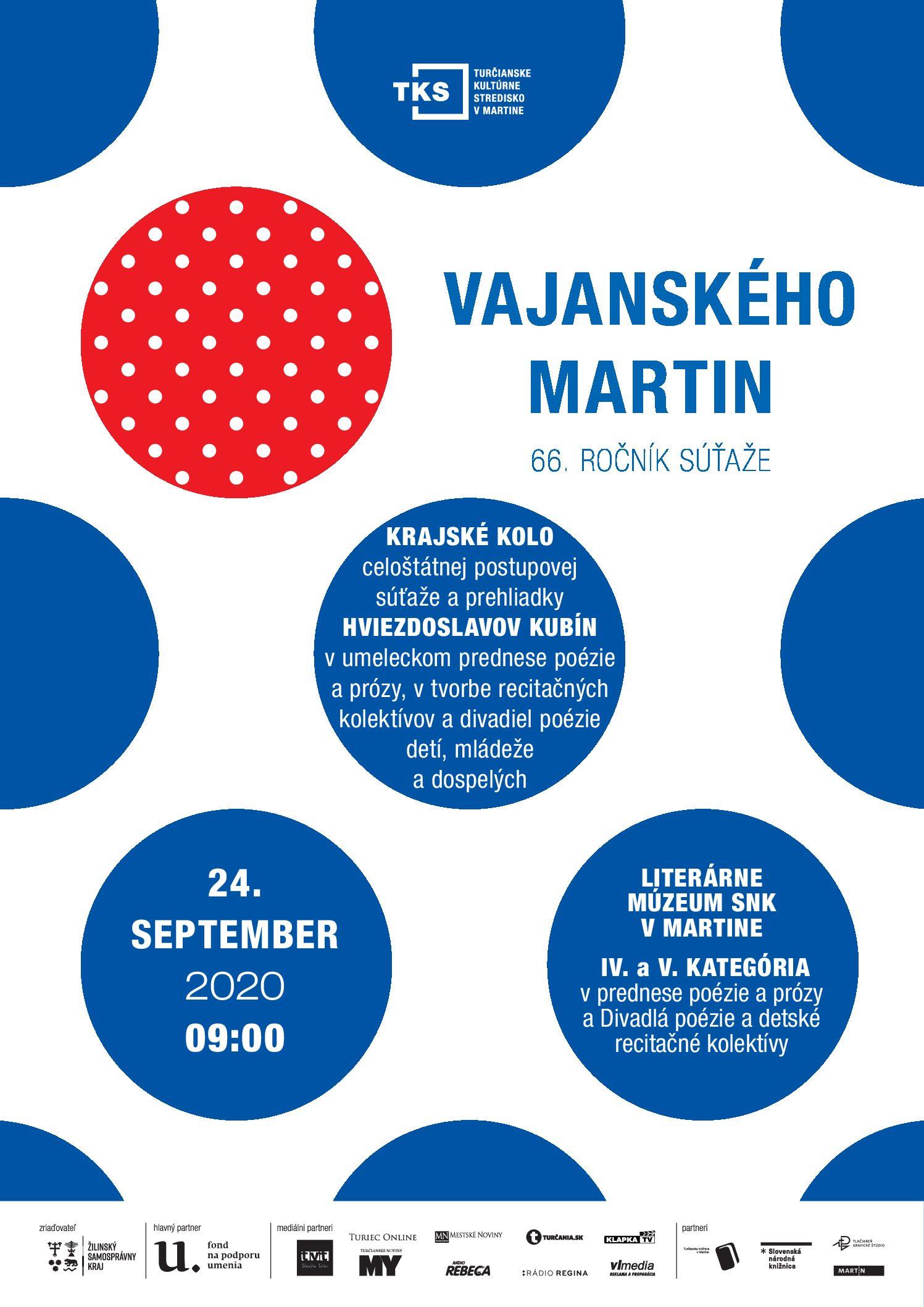 Vajanského Martin 2020 – Krajské kolo v septembri