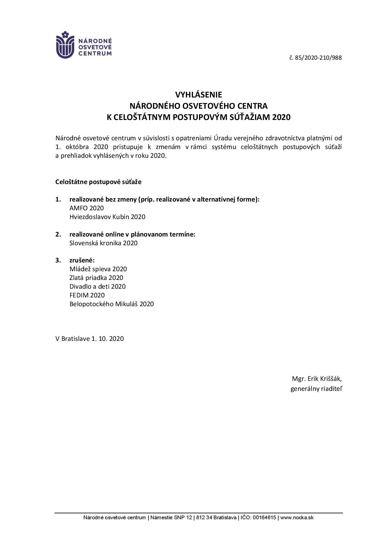 VyhlásenieNOC k celoštátnym postupovým súťažiam