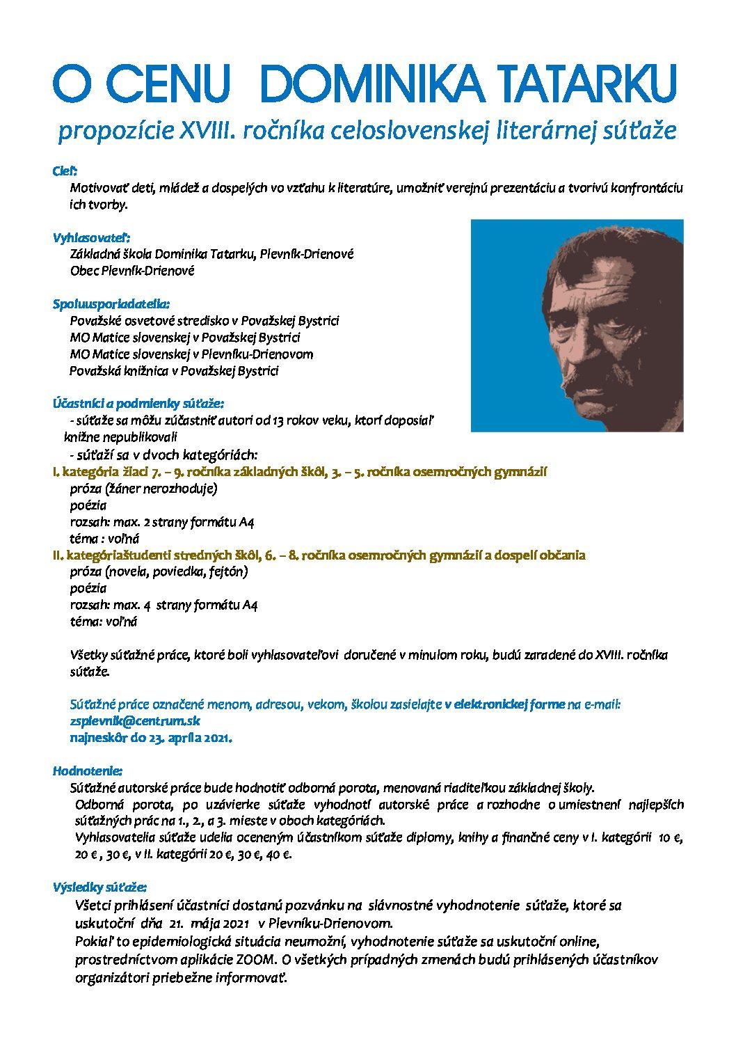 18. ročník celoštátnej literárnej súťaže O CENU DOMINIKA TATARKU