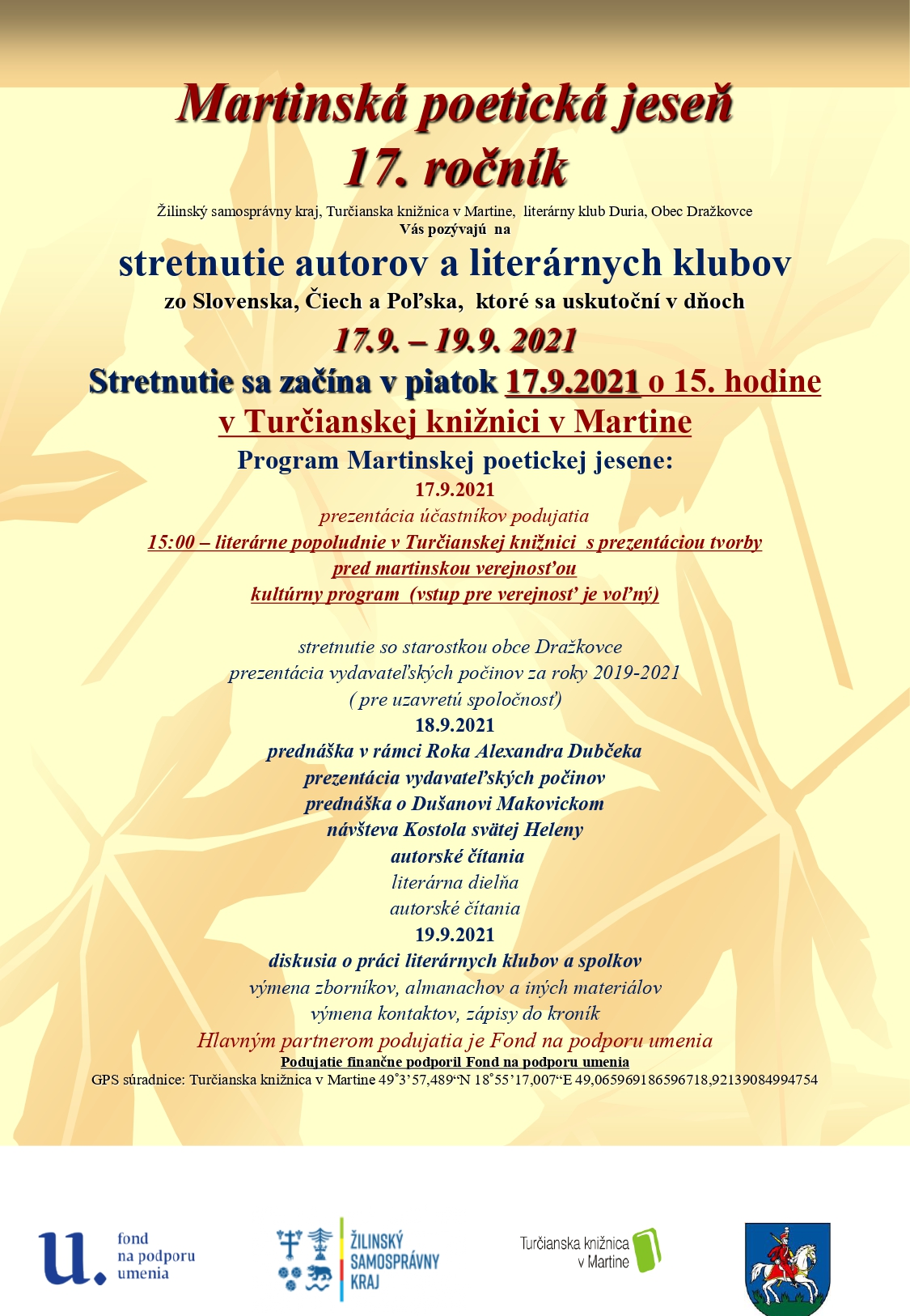 17. ročník Martinskej poetickej jesene – Turčianska knižnica v Martine